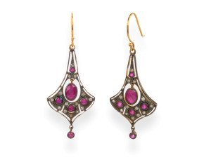 Edwardian Inspired Ruby & Diamond Drop Earrings