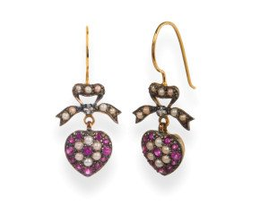 Edwardian Inspired Seed Pearl & Ruby Heart Earrings