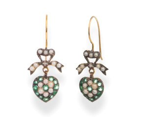 Edwardian Inspired Seed Pearl & Emerald Heart Cluster Drop Earrings