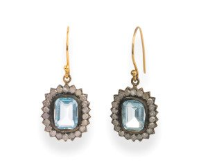 Victorian Inspired 4ct Topaz & Diamond Cluster Drop Earrings