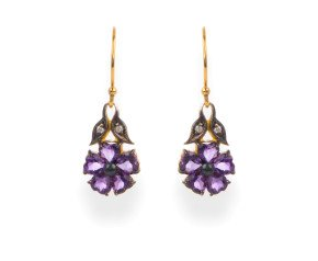 Victorian Inspired Amethyst & Diamond Flower Drop Earrings