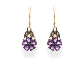 Victorian Inspired Amethyst & Diamond Flower Drop Earrings