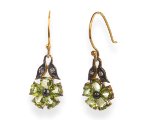 Victorian Style Peridot & Diamond Flower Drop Earrings