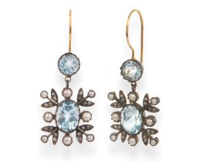 Edwardian Inspired 6.20ct Topaz, Seed Pearl & Diamond Drop Earrings
