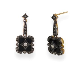 Art Deco Inspired 0.50ct Diamond & Onyx Drop Earrings
