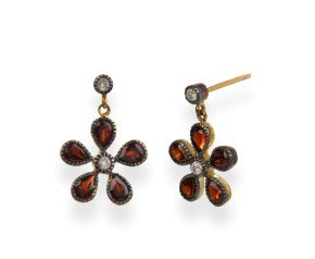 Georgian Inspired Garnet Diamond Flower Drop Earrings