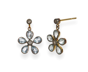 Georgian Inspired Topaz & Diamond Flower Drop Earrings