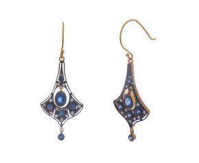 Victorian Inspired Sapphire & Diamond Drop Earrings
