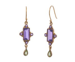 Amethyst & Peridot Drop Earrings