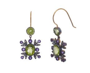 Peridot, Amethyst & Diamond Drop Earrings