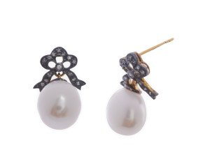 Edwardian Inspired Pearl & Diamond Drop Earrings