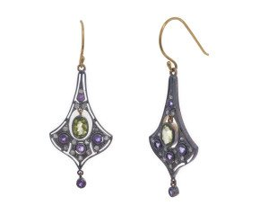 Victorian Inspired Amethyst, Peridot & Diamond Drop Earrings