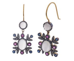 Edwardian Inspired Moonstone Ruby Sapphire & Diamond Drop Earrings