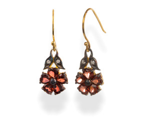 Victorian Inspired Garnet & Diamond Flower Drop Earrings
