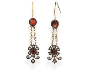 Edwardian Inspired Garnet, Seed Pearl & Diamond Drop Earrings