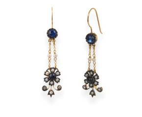 Edwardian Inspired Sapphire, Seed Pearl & Diamond Drop Earrings
