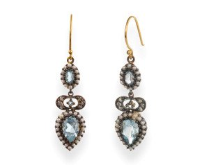 Victorian Inspired Topaz, Seed Pearl & Diamond Drop Earrings
