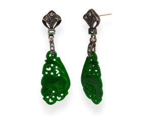 Jadeite, Emerald & Diamond Drop Earrings
