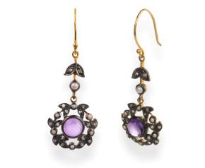 Amethyst, Diamond & Seed Pearl Drop Earrings