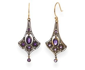 Victorian Inspried Amethyst & Diamond Drop Earrings