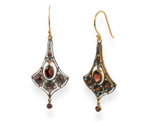Edwardian Inspired Garnet & Diamond Drop Earrings