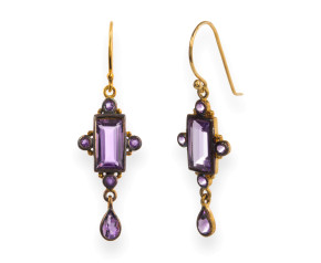 Victorian Inspired Amethyst Drop Earrings