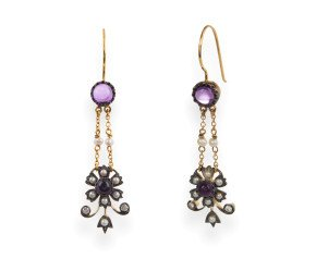 Edwardian Inspired Amethyst, Seed Pearl & Diamond Drop Earrings