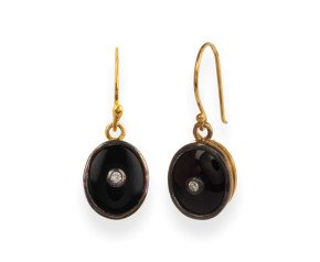 Onyx & Diamond Drop Earrings