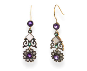 Victorian Inspired 1.00ct Diamond, Amethyst, Moonstone & Emerald Drop Earrings
