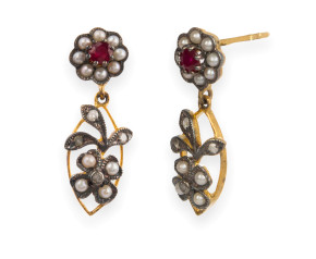Edwardian Inspired Seed Pearl, Ruby & Diamond Drop Earrings