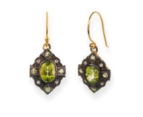 Victorian Inspired Peridot & Diamond Drop Earrings