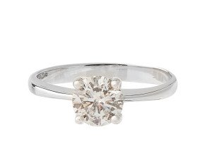 18ct White Gold Certified 0.52ct Diamond Solitaire Ring