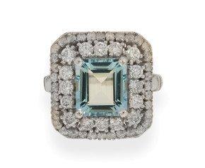 18ct White Gold 2.79ct Aquamarine & Diamond Cocktail Ring