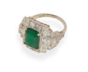 3.80ct Emerald & Diamond Cocktail Ring