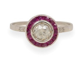 0.35ct Diamond & Ruby Halo Ring