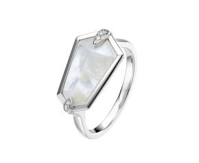 18ct White Gold Mother Of Pearl & Diamond Nova Kite Ring