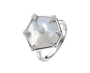 18ct White Gold 3.5cm Mother Of Pearl & 0.10ct Diamond Nova Dress Ring