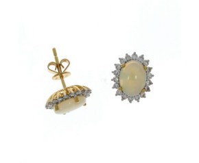 18ct Yellow Gold Diamond & Opal Cluster Earrings
