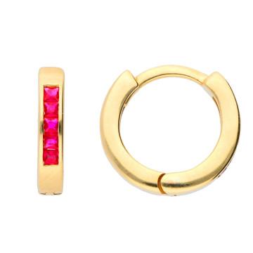 9ct Yellow Gold 0.35ct Ruby Hinged Hoop Earrings