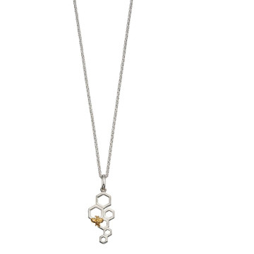 Sterling Silver & Yellow Gold Plated Honeycomb & Bee Pendant
