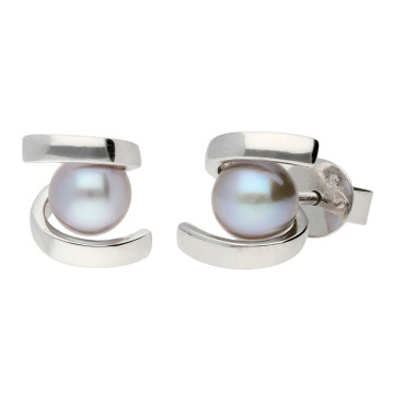 9ct White Gold 5mm Cultured Grey Pearl Earrings
