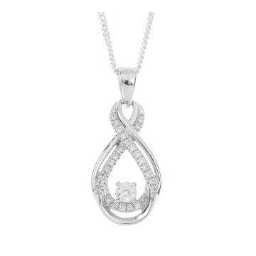 9ct White Gold 0.20ct Diamond Fancy Infinity Pendant