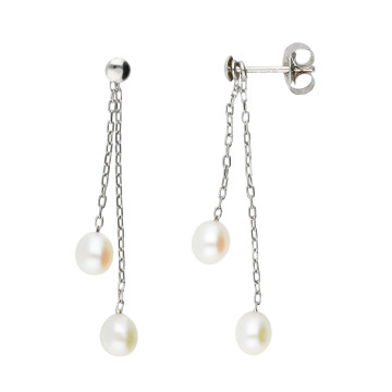 9ct White Gold Freshwater Rice Pearl Drop Earrings