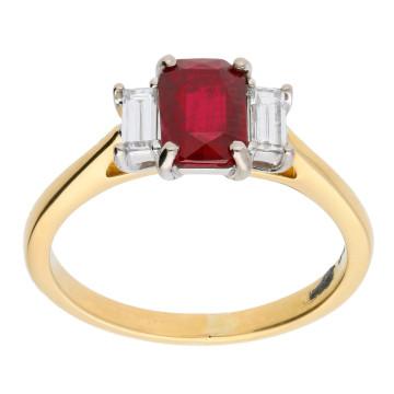 18ct Yellow Gold 0.90ct Ruby & Diamond Trilogy Ring