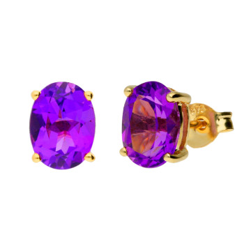 9ct Yellow Gold 2.00ct Oval Amethyst Solitaire Stud Earrings