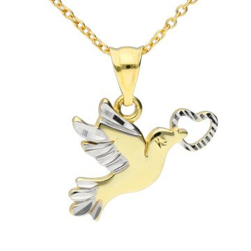 9ct Yellow & White Gold Dove Pendant