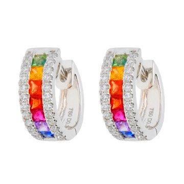 18ct White Gold 0.90ct Rainbow Sapphire & 0.30ct Diamond Hinged Hoop Earrings