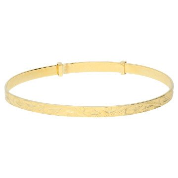 9ct Yellow Gold Expanding Engraved Bangle