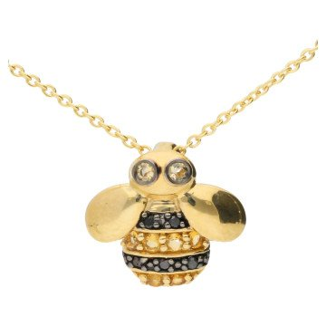 9ct Yellow Gold Black Diamond & Citrine Bee Pendant