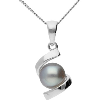 9ct White Gold 6.3mm Grey Cultured Pearl Pendant